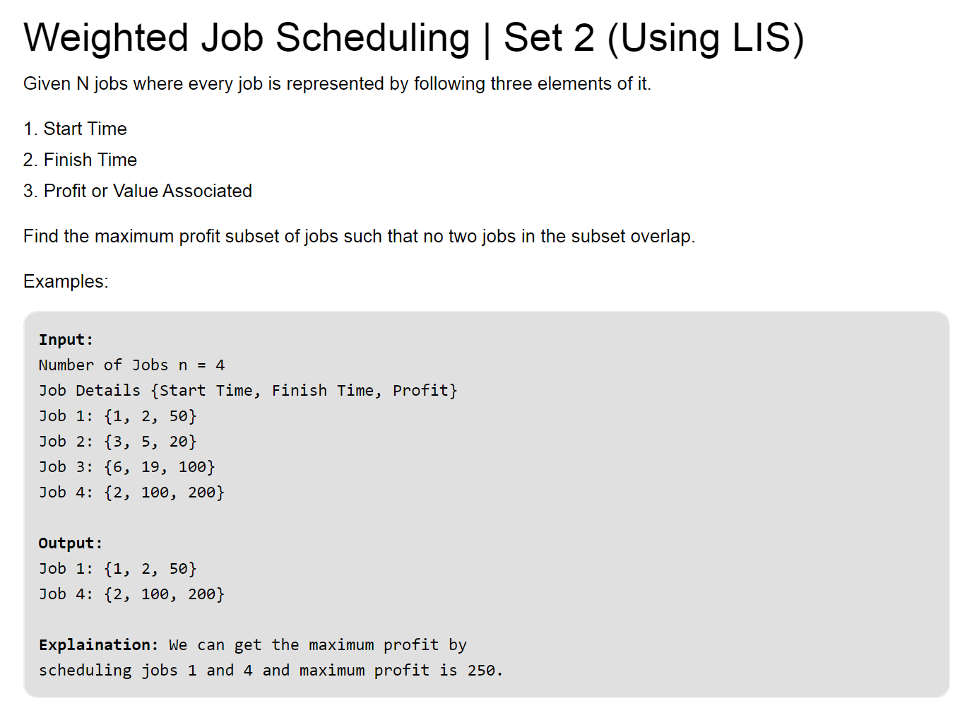 weighted job scheduling dynamic programming